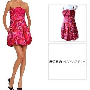 BCBGMAXAZRIA BEGONIA SATEEN FLORAL PRINT DRESS